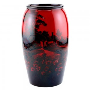 Vase with Country Scene 8_25H - Royal Doulton Flambe