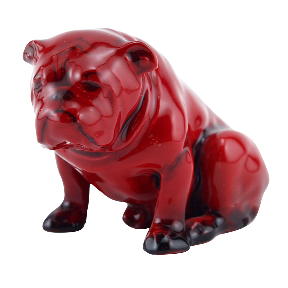 Royal Doulton Flamb Bulldog Seated (HN881) - Royal Doulton Flambe