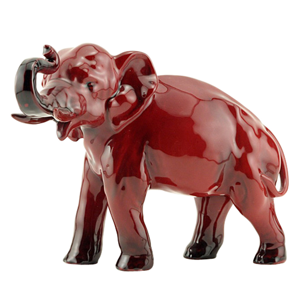 Flambe Elephant (Trunk in Salute - Small) HN891B - Royal Doulton Flambe