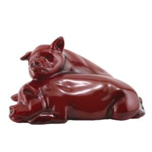 Pigs Snoozing (Ears Up - Large) HN213 - Royal Doulton Flambe