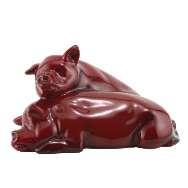 Pigs Snoozing (Ears Up - Large) HN213 - Royal Doulton Flambe