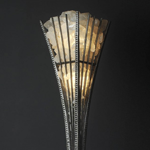 HAND FORGED WROUGHT IRON AND QUARTZ CRYSTAL FLOOR LAMP