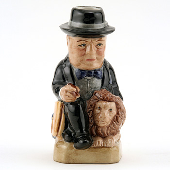 Churchill with Lion (Mini Black) - Kevin Francis Toby Jug