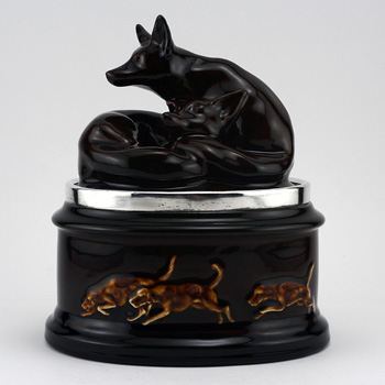 Fox Tobacco Jar Silver Rim - Royal Doulton Kingsware