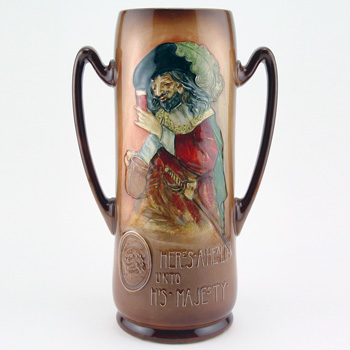 Here's A Health unto His Majesty Vase - Royal Doulton Kingsware