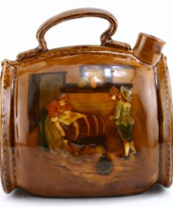 Leather Bottle with Tavern Scene - Royal Doulton Kingsware
