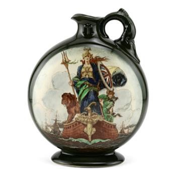Peace Flask (Green, Circular) - Royal Doulton Kingsware