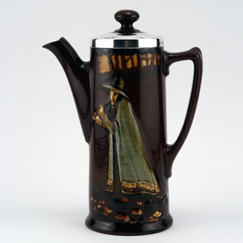 Pied Piper Coffee Pot with Silver Lid - Royal Doulton Kingsware