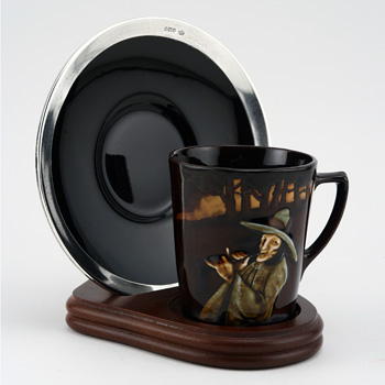 Pied Piper Cup & Saucer with Stand - Royal Doulton Kingsware