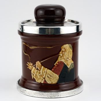 Smoking Man Tobacco Jar w/ Silver Lid - Royal Doulton Kingsware