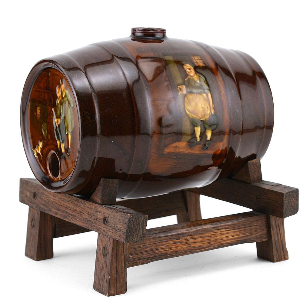 Tavern Scene Barrel WoodStand - Royal Doulton Kingsware