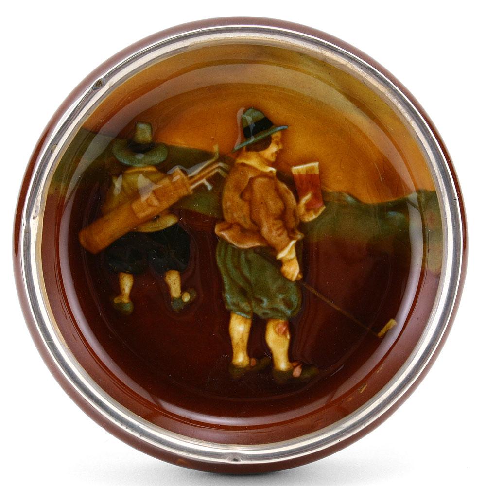 Ye 19th Hole Dish Silver Rim - Royal Doulton Kingsware