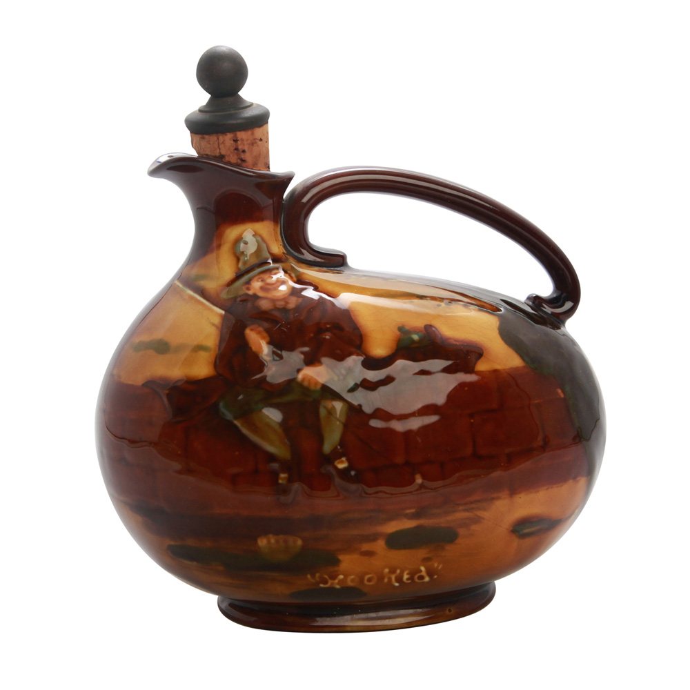 """Kingsware Bottle """"Hooked"""" (Bottom reads Greenless Brothers Claymore Scotch Whisky Distillers) - Royal Doulton Kingsware"""