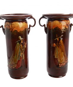 Kingsware Pied Piper Double Handle Vase (Pair)  - Royal Doulton Kingsware