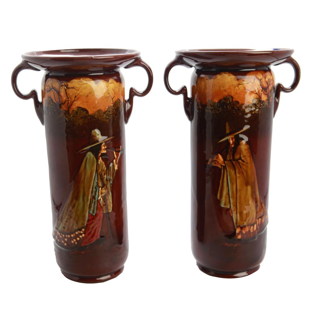 Kingsware Pied Piper Double Handle Vase (Pair)  - Royal Doulton Kingsware