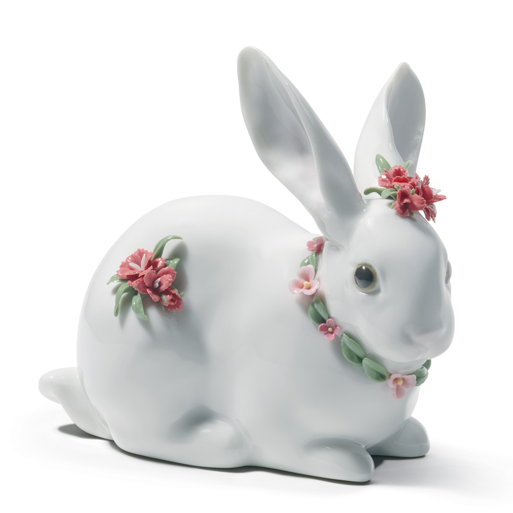 Attentive Bunny (Carnations) 1007578 - Lladro Figurine