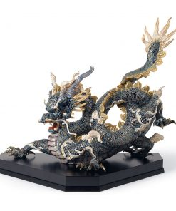 Great Dragon (Blue and Golden) 01001934 - Lladro Figurine