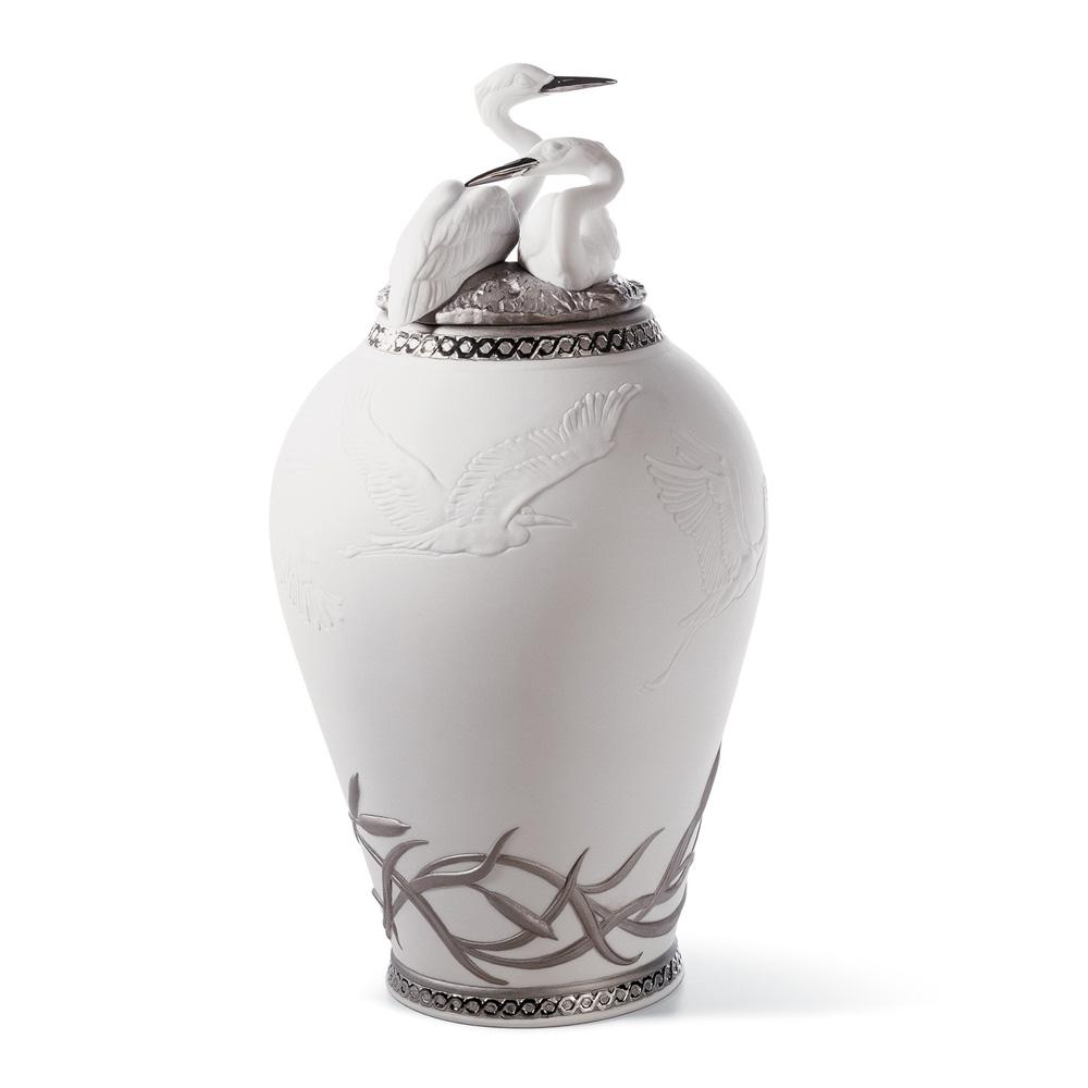 Heron's Realm Covered Vase (Re-Deco) - 01007052 - Lladro Vase
