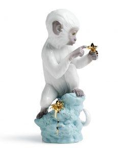 Curiosity - Monkey On Turquoise Rock 01007238 - Lladro Figurine