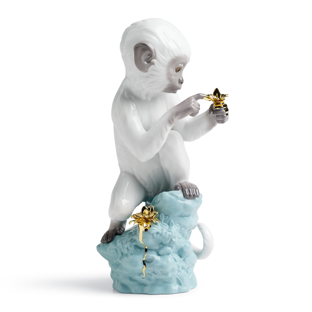 Curiosity - Monkey On Turquoise Rock 01007238 - Lladro Figurine