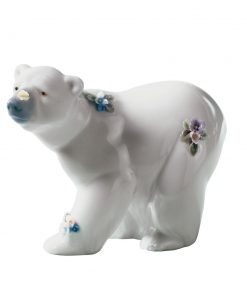 Attentive Polar Bear Flowers 01006354 - Lladro Animals