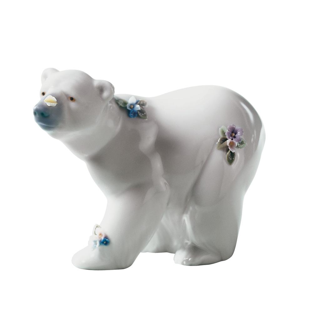 Attentive Polar Bear Flowers 01006354 - Lladro Animals