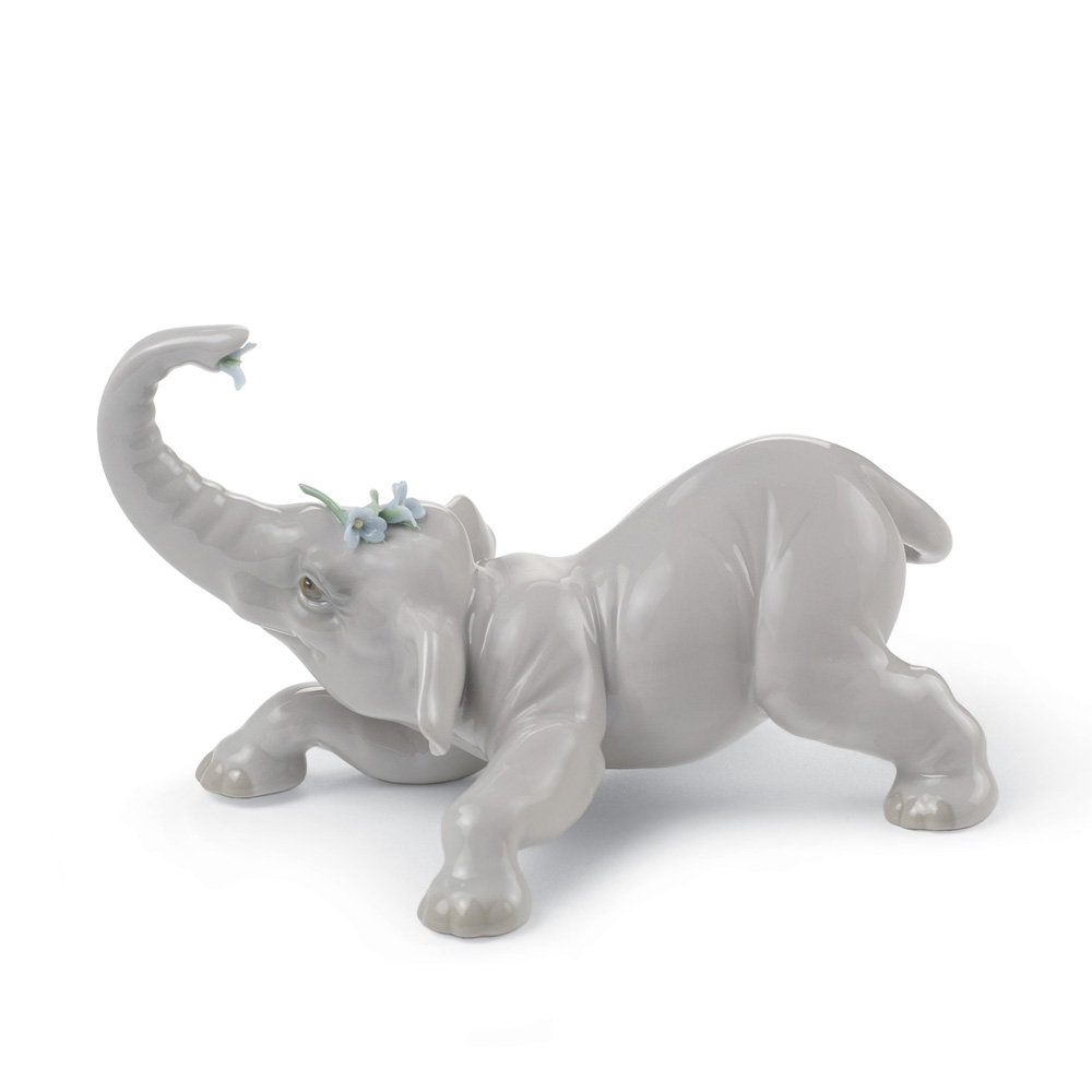 Baby Elephant With Blue Flower 01008490 - Lladro Figurine