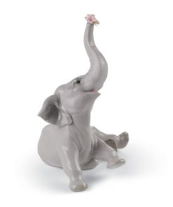 Baby Elephant With Pink Flower 01008491 - Lladro Figurine