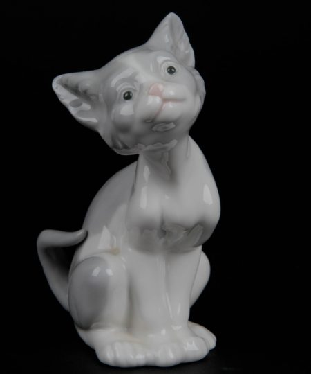 Cat Grey and White Seated 5113 - Lladro Figurine