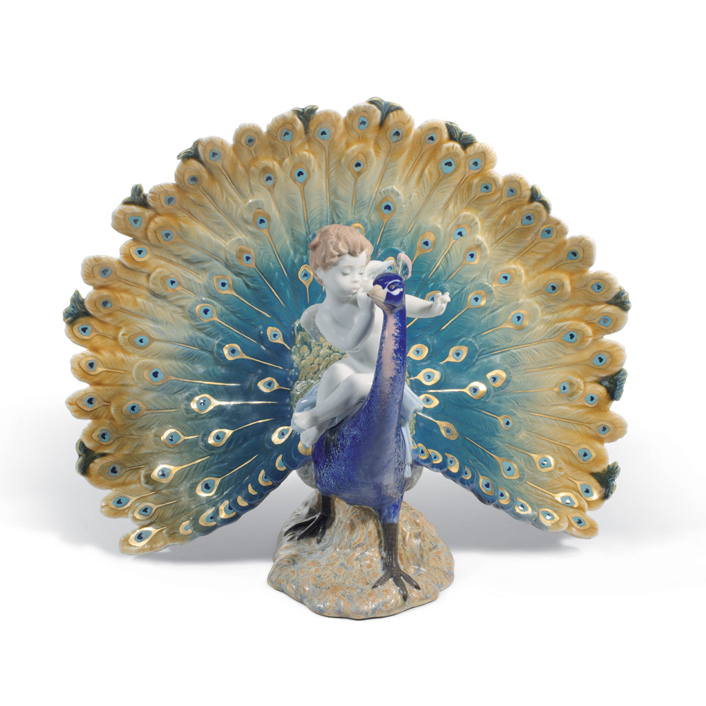Cherub on a Peacock 01001961 - Lladro Figurine