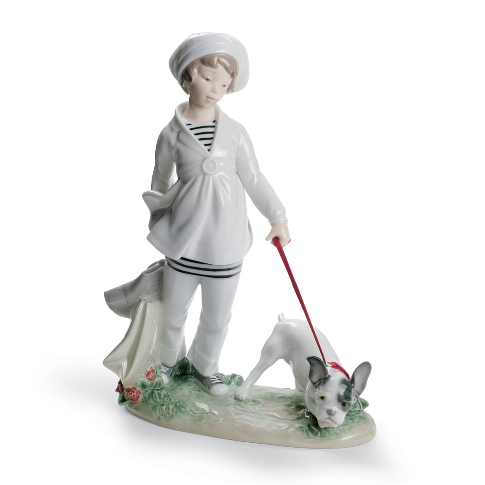 Girl With French Bulldog 01008522 - Lladro Figurine