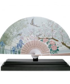 Iris and Cherry Flowers Fan 01001936 - Lladro Fan