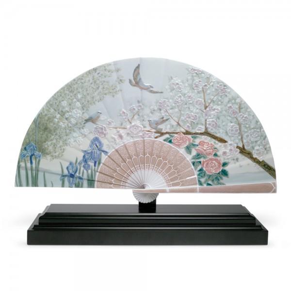 Iris and Cherry Flowers Fan 01001936 - Lladro Fan
