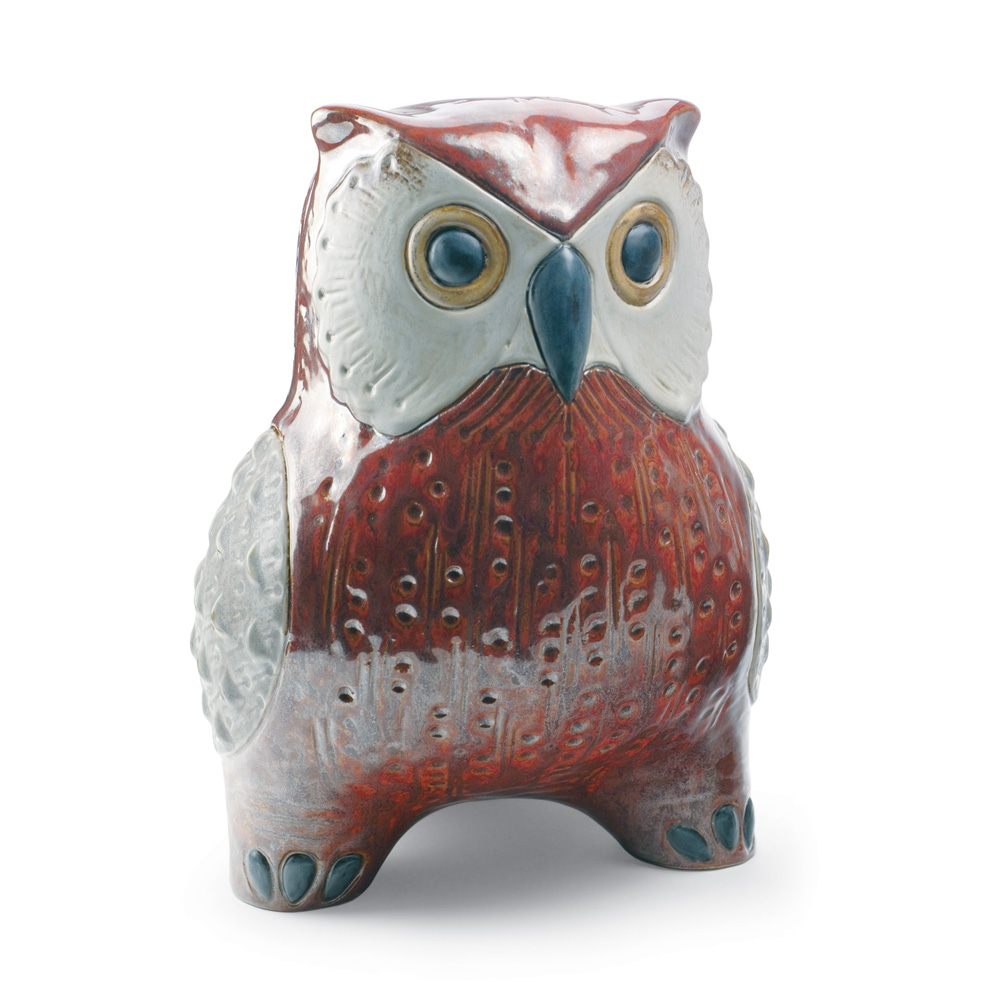 Large Owl (Red) 01012533 - Lladro Figurine
