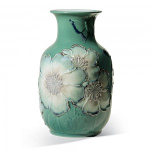Poppy Flowers Tall Vase Green 01008648 - Lladro Vase