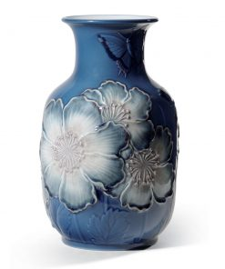 Poppy Flowers Tall Vase Blue 01008649 - Lladro Figurine
