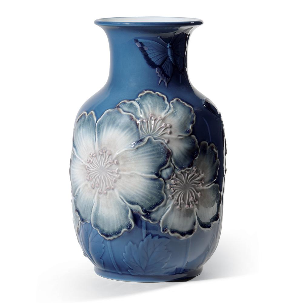 Poppy Flowers Tall Vase Blue 01008649 - Lladro Figurine
