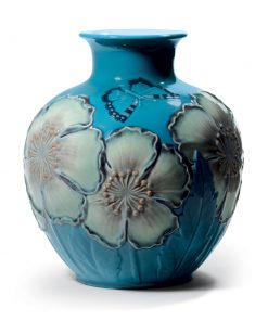 Poppy Flowers Vase Blue 01008620 - Lladro Figurine