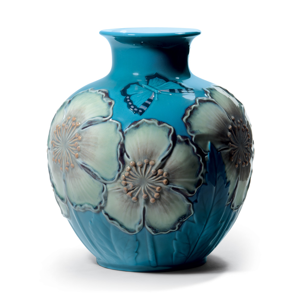 Poppy Flowers Vase Blue 01008620 - Lladro Figurine