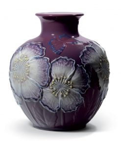 Poppy Flowers Vase Purple 01008621 - Lladro Vase