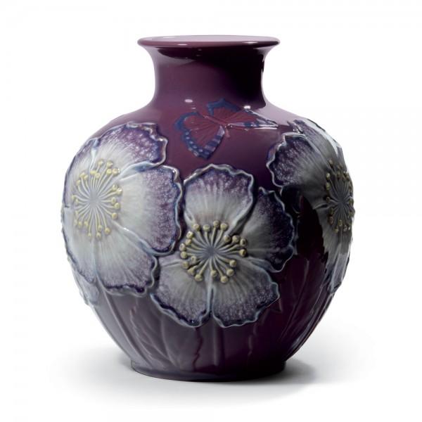 Poppy Flowers Vase Purple 01008621 - Lladro Vase
