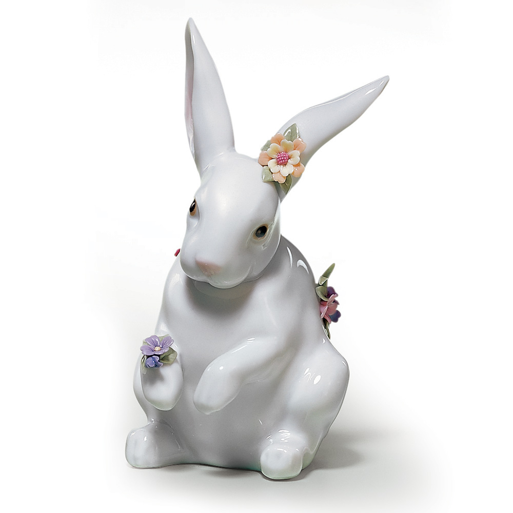 Sitting Bunny With Flowers 01006100 - Lladro Figurine