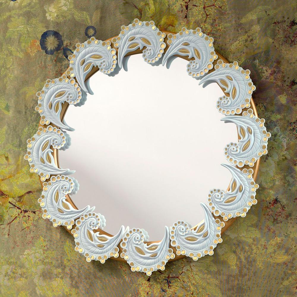 Spiral Mirror White & Gold 01007798 - Lladro Figurine