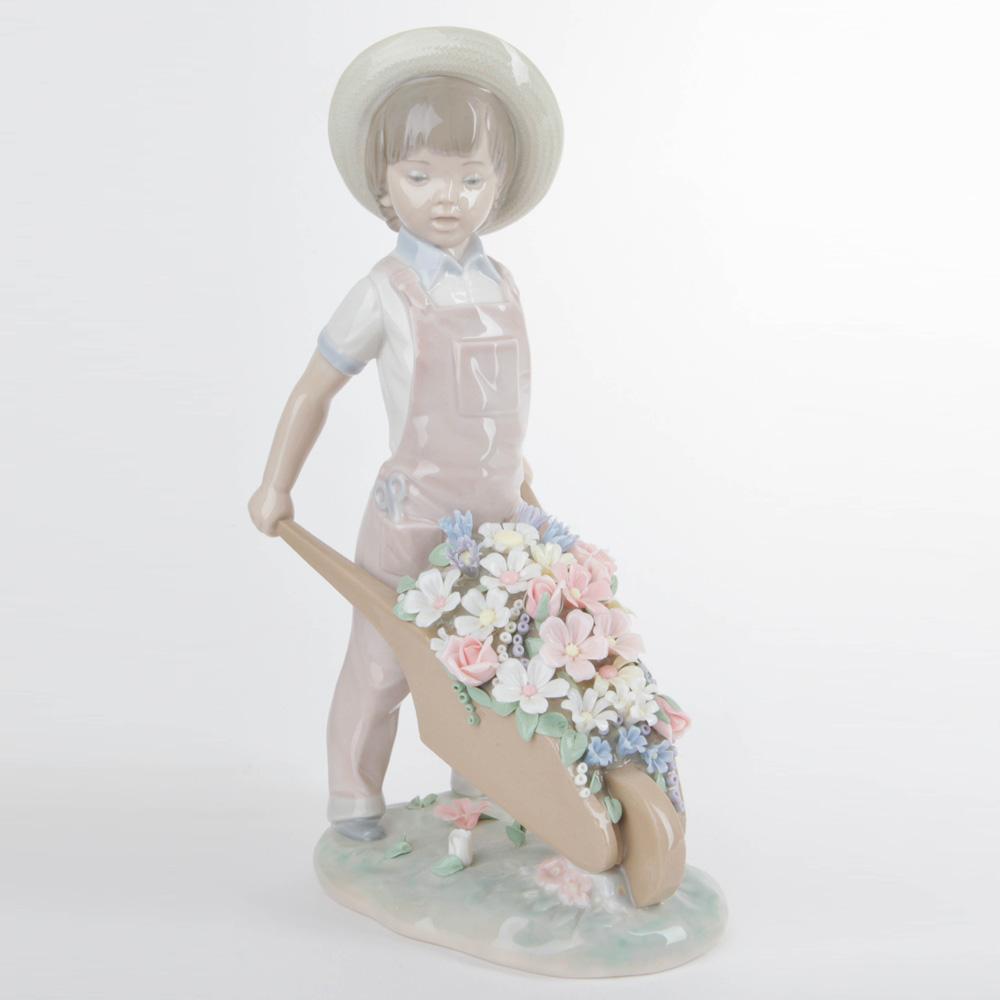 Wheelbarrow with Flowers 1001283 - Lladro Figurine