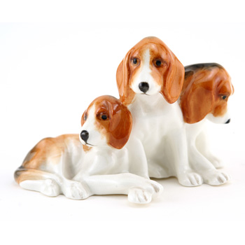 Foxhound Puppies RW3132 - Royal Worcester