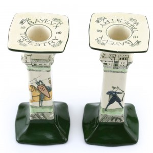 Bayeaux Tapestry Candlestick Pair, square - Royal Doulton Seriesware