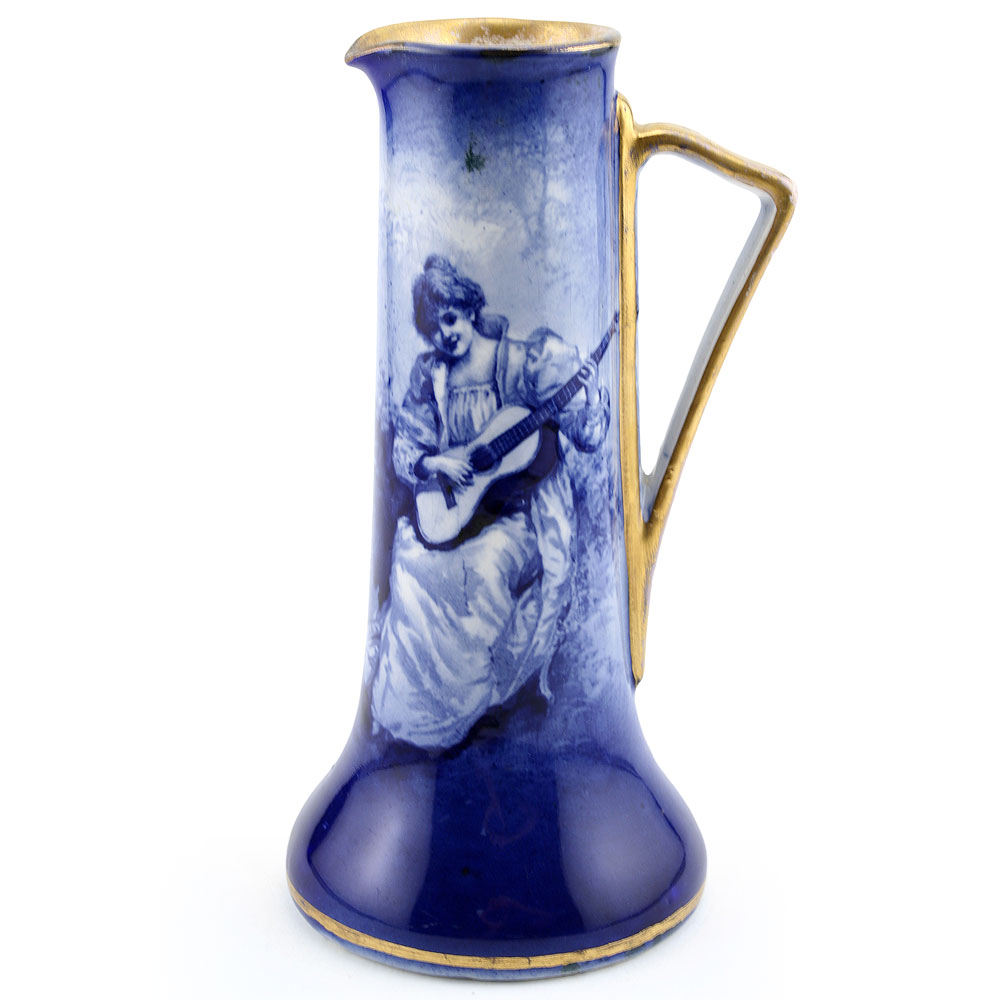 Blue Children Pitcher, Woman with Guitar - Royal Doulton Seriesware