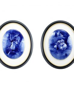 Blue Children Plaque Pair U22 - Royal Doulton Seriesware