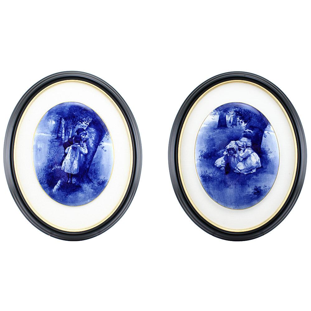 Blue Children Plaque Pair U22 - Royal Doulton Seriesware