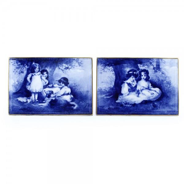 Blue Children Plaque Vase Pair - Royal Doulton Seriesware